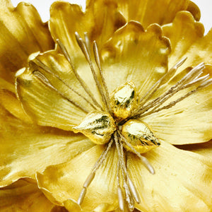 Extra Large Open Peony Sugar Flower in Gold - Ships within 3 Business Days