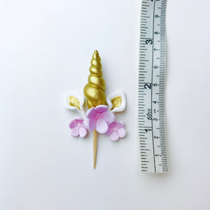 Gold Unicorn Cupcake Toppers set with Lilac Flowers - Ships within 3 Business Days