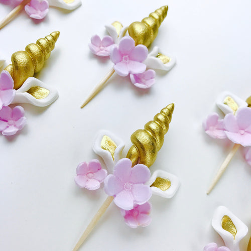 Gold Unicorn Cupcake Toppers set with Lilac Flowers