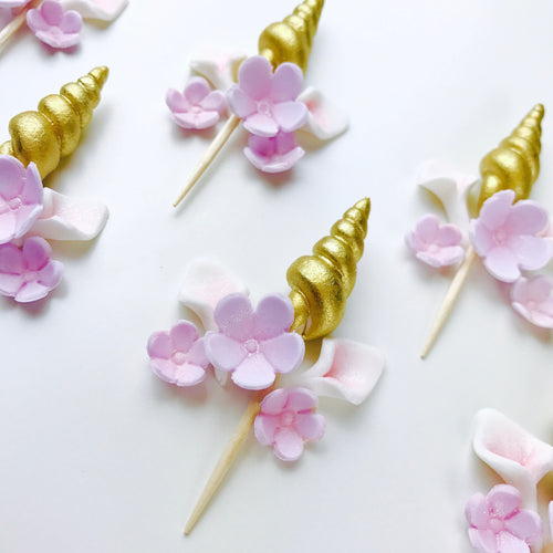 Set of 12 Gold Unicorn Cupcake Toppers with Lilac Flowers
