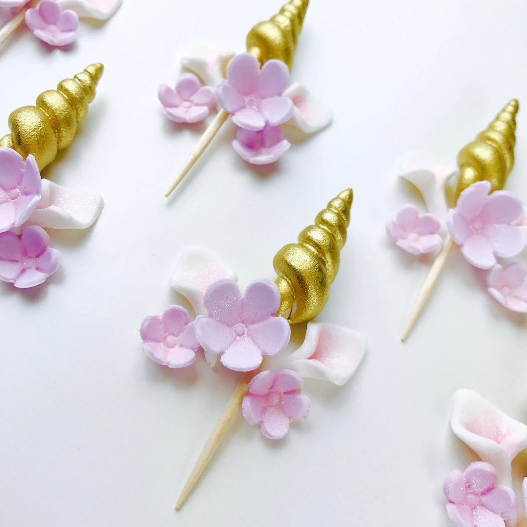 Set of 12 Gold Unicorn Cupcake Toppers with Lilac Flowers - Ships within 3 Business Days