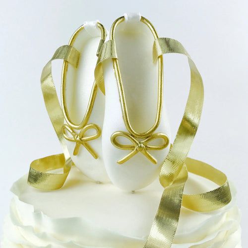 White and Gold Ballerina Shoes Fondant Cake Topper