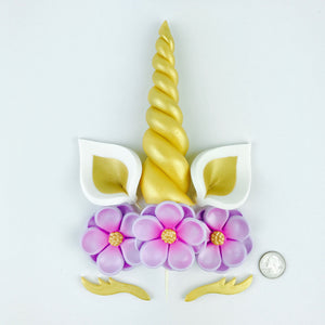 Unicorn Cake Topper with Gold Horn, Ears, Lashes and Lilac Flowers size comparison