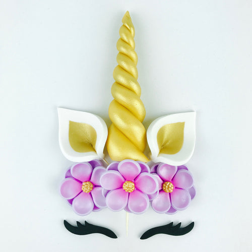 Unicorn Cake Topper with Gold Horn, Ears, Black Lashes and Lilac Flowers