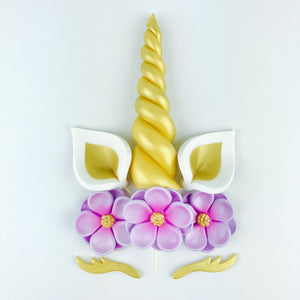 Unicorn Cake Topper with Gold Horn, Ears, Lashes and Lilac Flowers