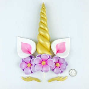 Unicorn Cake Topper with Gold Horn and Lashes, Pink Ears and Lilac Flowers size comparison