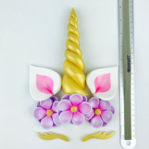 Unicorn Cake Topper with Gold Horn and  Lashes, Pink Ears and Lilac Flowers size