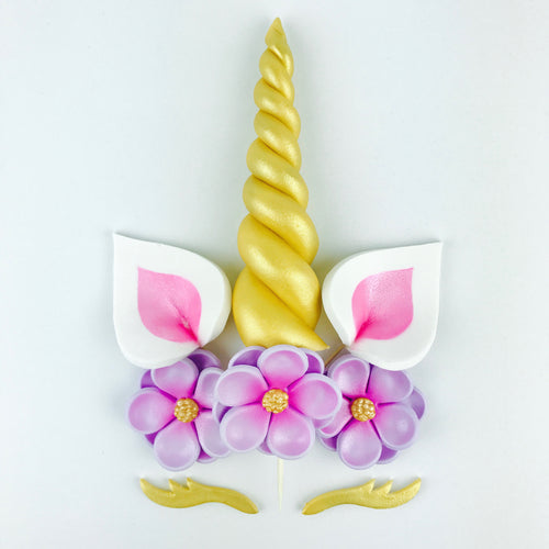 Unicorn Cake Topper with Gold Horn and Lashes, Pink Ears and Lilac Flowers