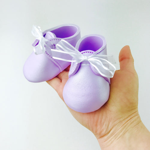 Baby Booties Fondant Cake Topper in Lilac - Ships within 3 Business Days