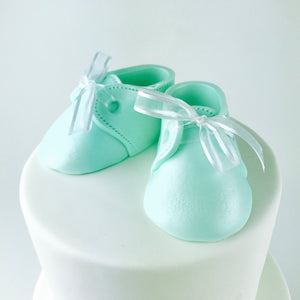 Baby Booties Fondant Cake Topper in Mint - Ships within 3 Business Days