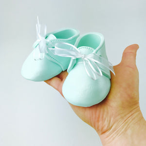 Baby Booties Fondant Cake Topper in Mint