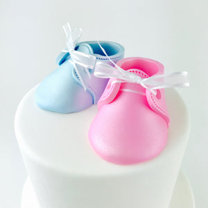 Gender Reveal Baby Booties Fondant Cake Topper in Pink and Blue