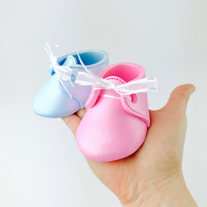 Gender Reveal Baby Booties Fondant Cake Topper in Pink and Blue - Ships within 3 Business Days