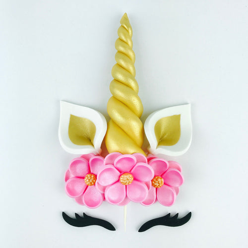 Unicorn Cake Topper with Gold Horn, Ears, Black Lashes and Pink Flowers