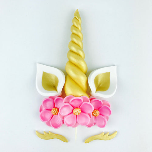 Unicorn Cake Topper with Gold Horn, Ears, Lashes and Pink Flowers