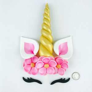 Unicorn Cake Topper with Gold Horn, Black Lashes, Pink Ears and Pink Flowers size comparison