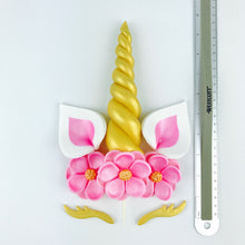Unicorn Cake Topper with Gold Horn and  Lashes, Pink Ears and Pink Flowers size
