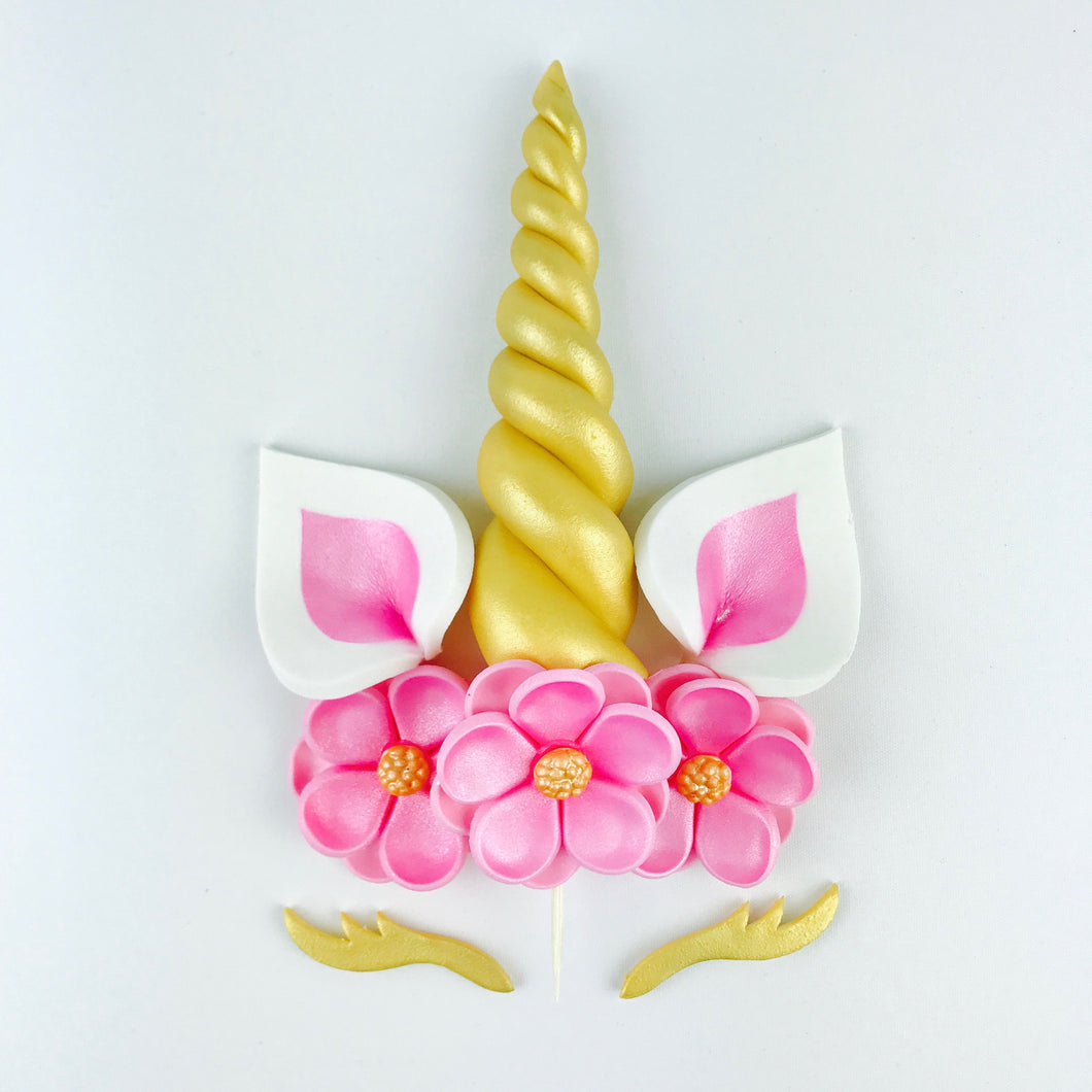 Unicorn Cake Topper with Gold Horn and Lashes, Pink Ears and Pink Flowers