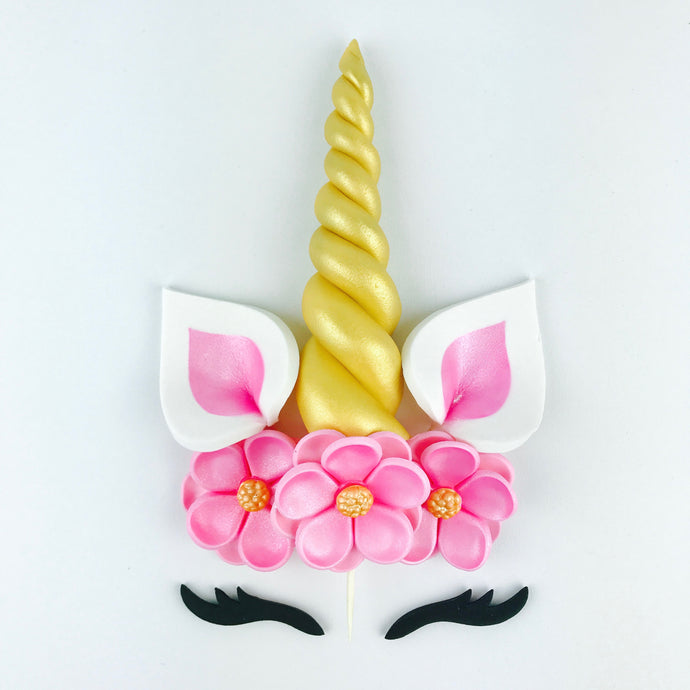 Unicorn Cake Topper with Gold Horn, Black Lashes, Pink Ears and Pink Flowers