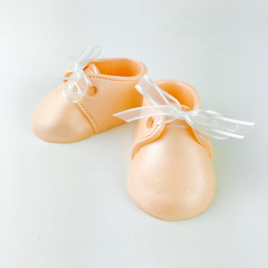 Baby Booties Fondant Cake Topper in Peach - Ships within 3 Business Days