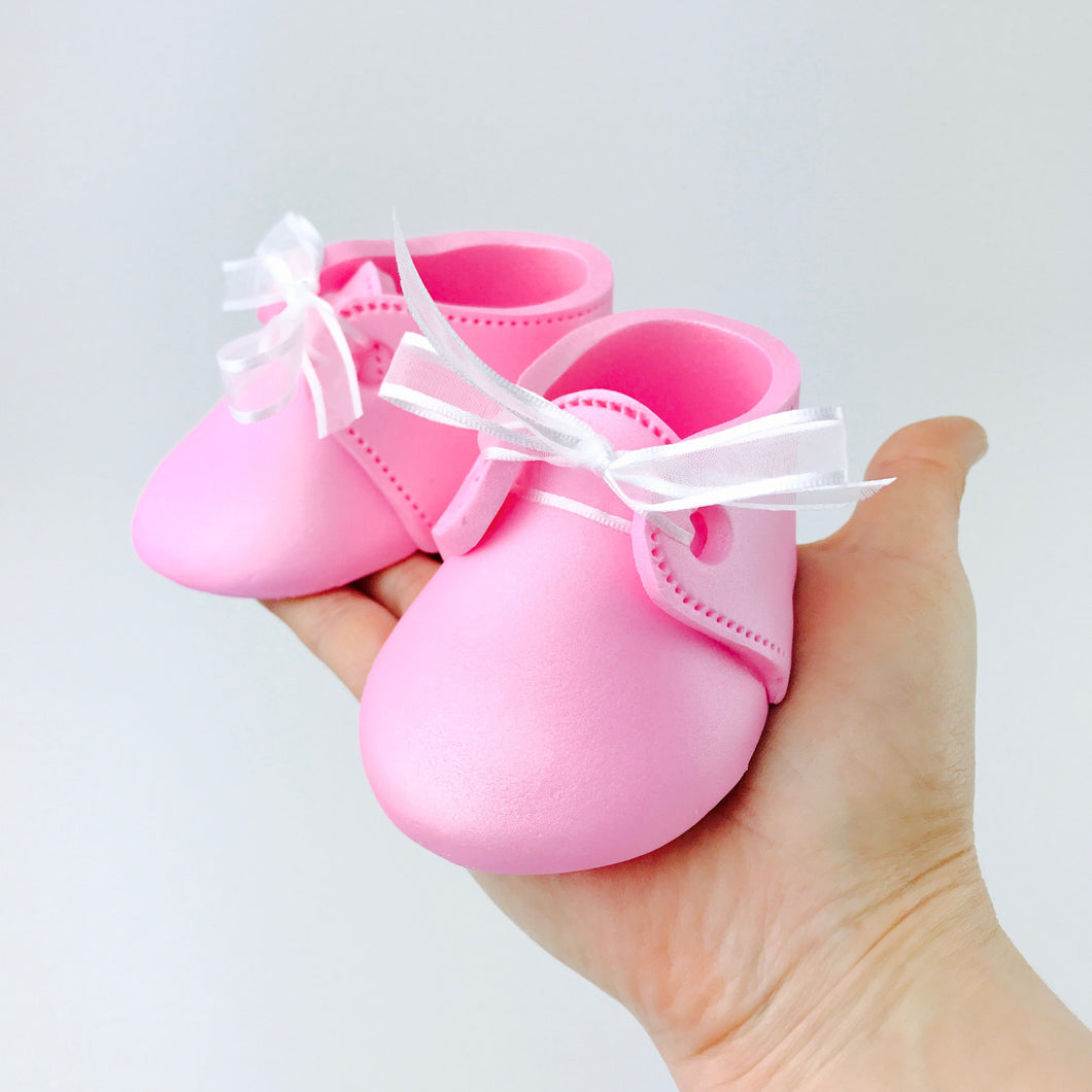 Baby Booties Fondant Cake Topper in Pink - Ships within 3 Business Days
