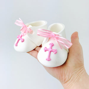 Baby Girl Christening or Baptising Fondant Booties Cake Topper