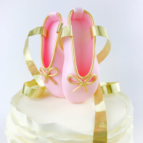 Pink and Gold Ballerina Shoes Fondant Cake Topper