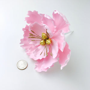 Extra Large Open Peony Sugar Flower in Blush Pink