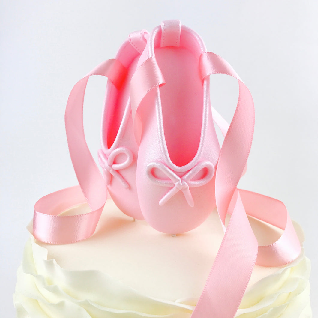 Pink Ballerina Shoes Fondant Cake Topper