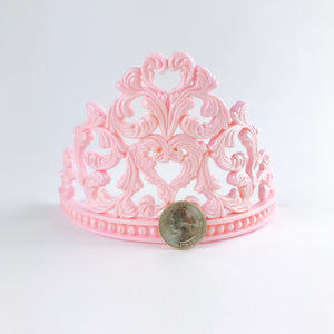 Princess Tiara Fondant Cake Topper in Pink size comparison