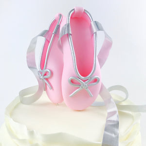 Pink and Silver Ballerina Shoes Fondant Cake Topper