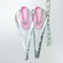 Pink and Silver Ballerina Shoes Fondant Cake Topper sizes