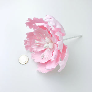 Extra Large Open Peony Sugar Flower in Blush Pink - Ships within 3 Business Days