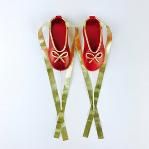 Red and Gold Ballerina Shoes Fondant Cake Toppers