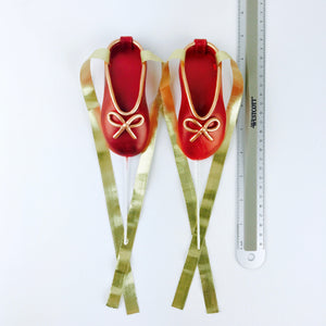 Red and Gold Ballerina Shoes Fondant Cake Topper sizes