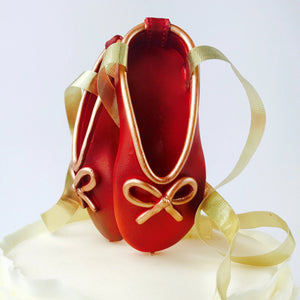 Red and Gold Ballerina Shoes Fondant Cake Topper