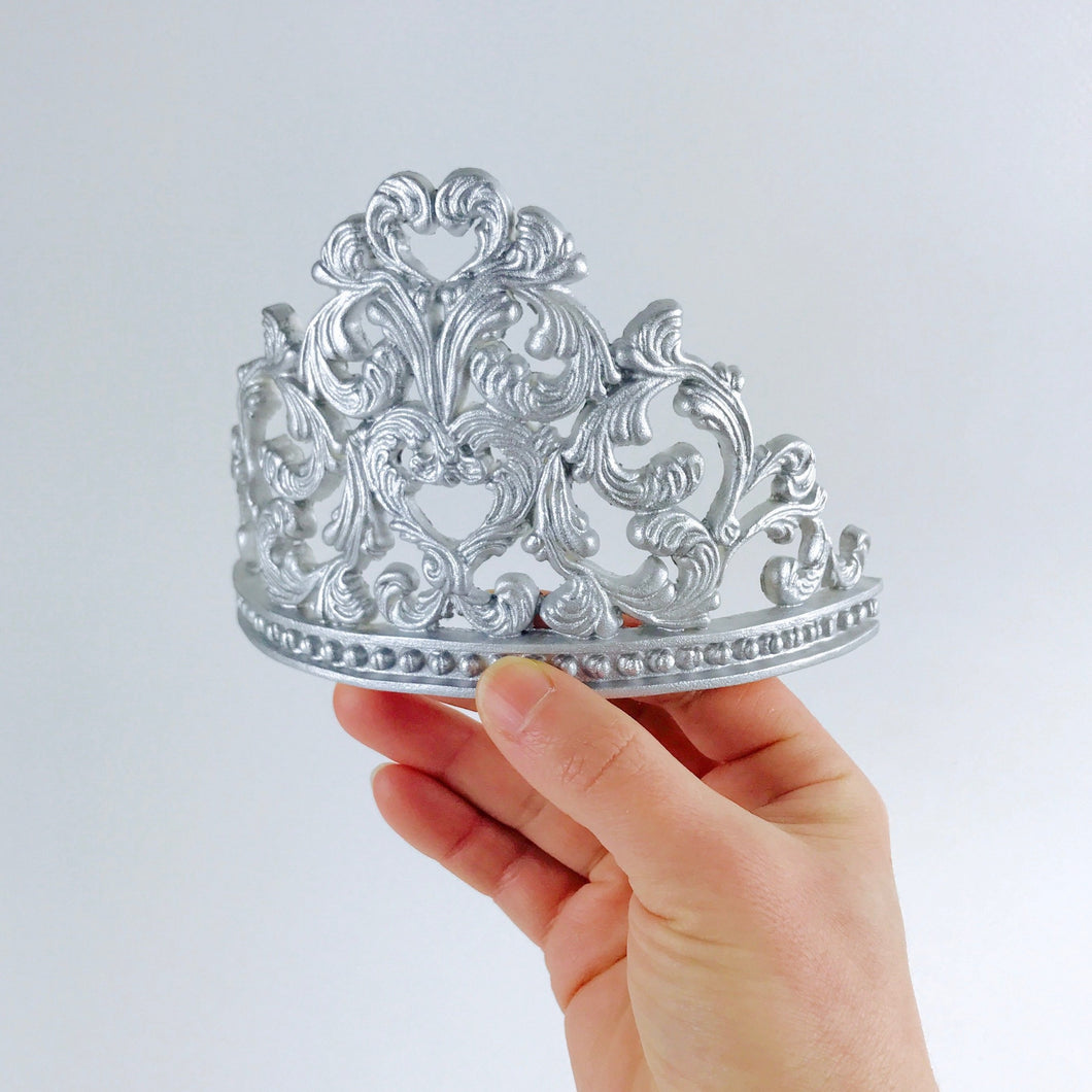 Princess Tiara Fondant Cake Topper in Silver