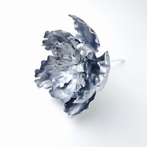 Extra Large Open Peony Sugar Flower in Silver - Ships within 3 Business Days