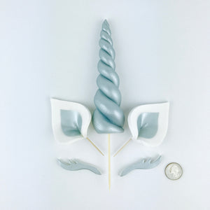 Silver Unicorn Cake Topper with Silver Ears and Silver Lashes size comparison
