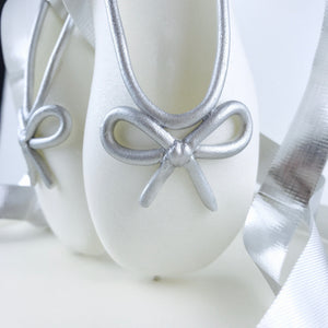White and Silver Ballerina Shoes Fondant Cake Topper Closeup detail