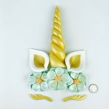 Unicorn Cake Topper with Gold Horn, Ears, Lashes and Teal Flowers size comparison