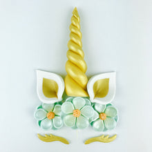 Unicorn Cake Topper with Gold Horn, Ears, Lashes and Teal Flowers