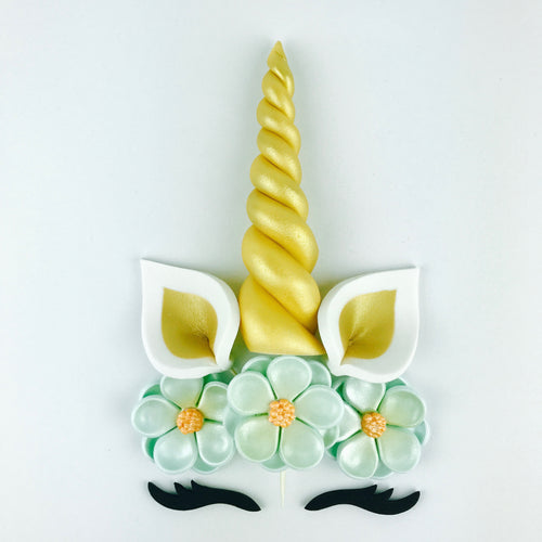 Unicorn Cake Topper with Gold Horn, Ears, Black Lashes and Teal Flowers