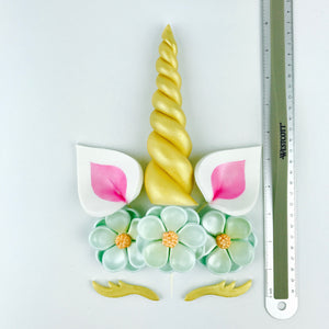 Unicorn Cake Topper with Gold Horn, Pink Ears, Gold Lashes and Aqua Blue Flowers sizes