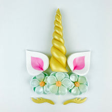 Unicorn Cake Topper with Gold Horn, Pink Ears, Gold Lashes and Aqua Blue Flowers