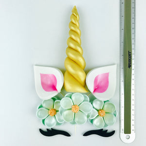 Unicorn Cake Topper with Gold Horn, Pink Ears, Black Lashes and Aqua Blue Flowers sizes