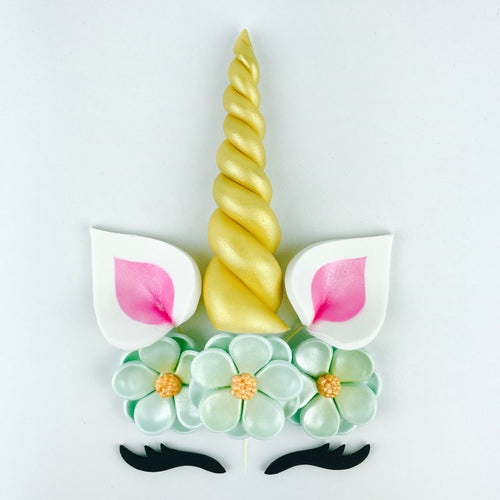 Unicorn Cake Topper with Gold Horn, Pink Ears, Black Lashes and Aqua Blue Flowers