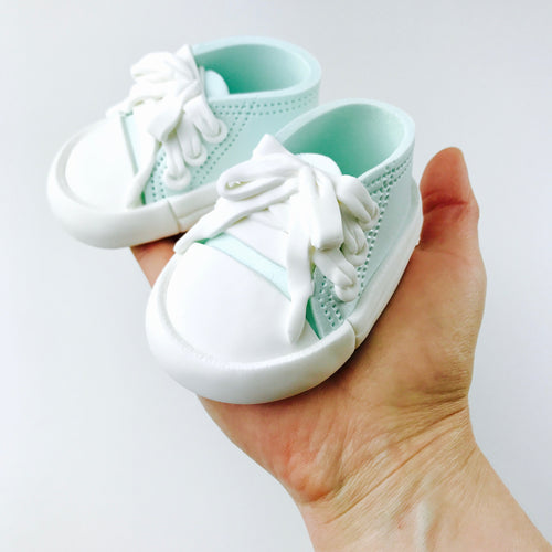 Baby Sneakers Shoes Cake Topper in Teal