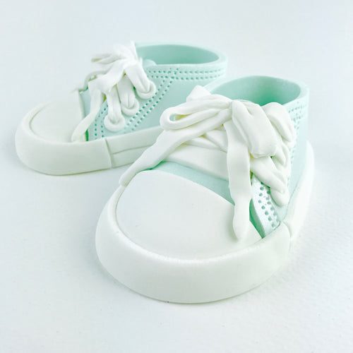 Teal Baby Sneakers Shoes Cake Topper