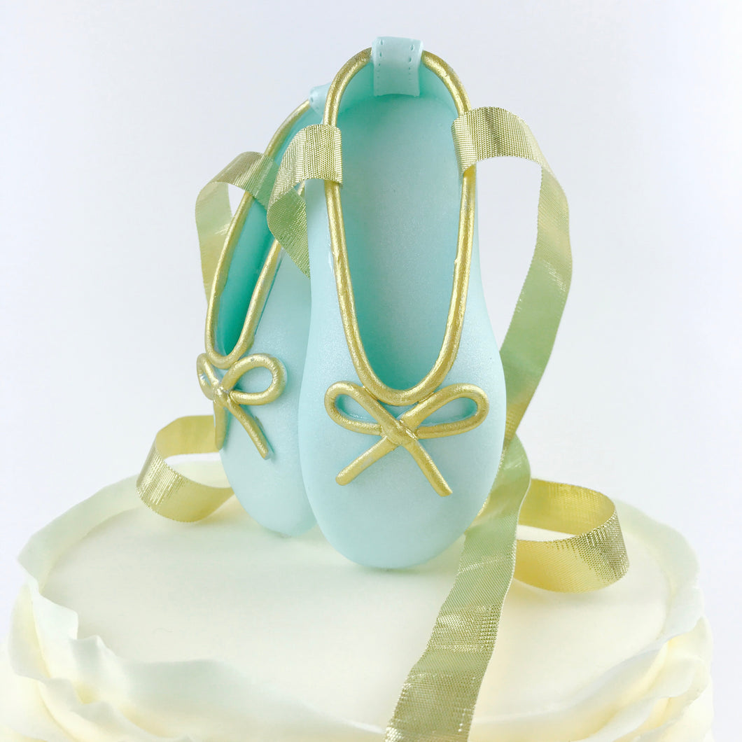 Teal and Gold Ballerina Shoes Fondant Cake Topper